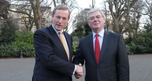 Fine Gael leader Enda Kenny and Labour leader Eamon Gilmore pictured in Dublin yesterday. Picture: Maxwells